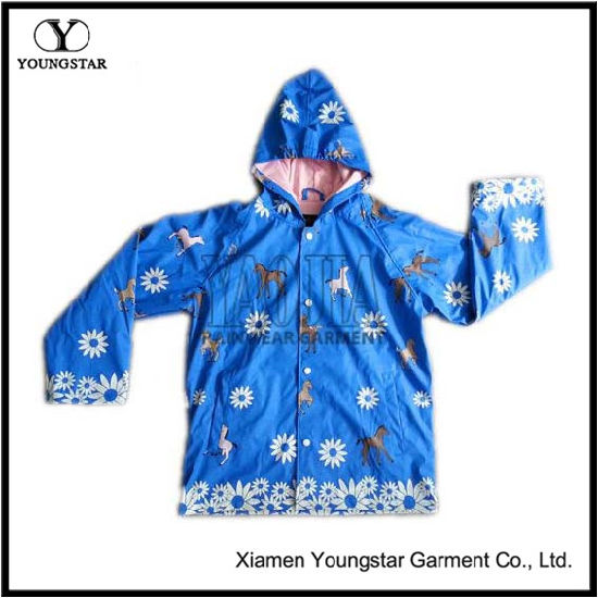 Childrens Kids Blue PU Rain Jacket Parka Kids Rain Coats