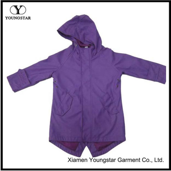 Girls Purple Rain Jacket Slicker Clothing Womens Polyester Raincoat with Hood
