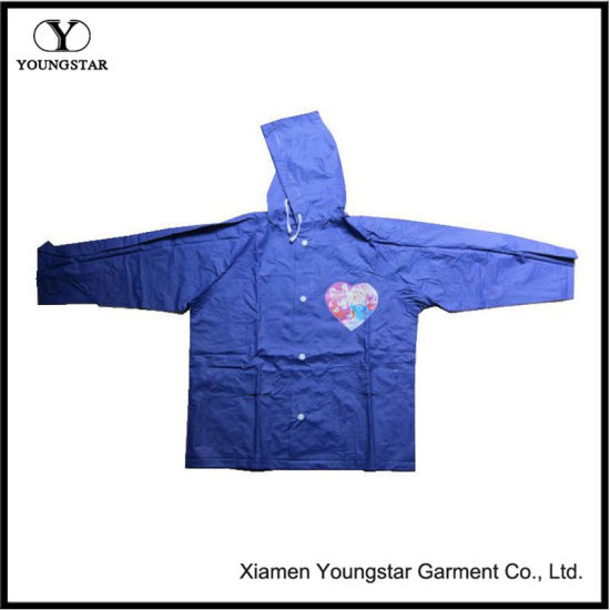 PVC Coating Waterproof Children Rain Jacket / Rain Cape