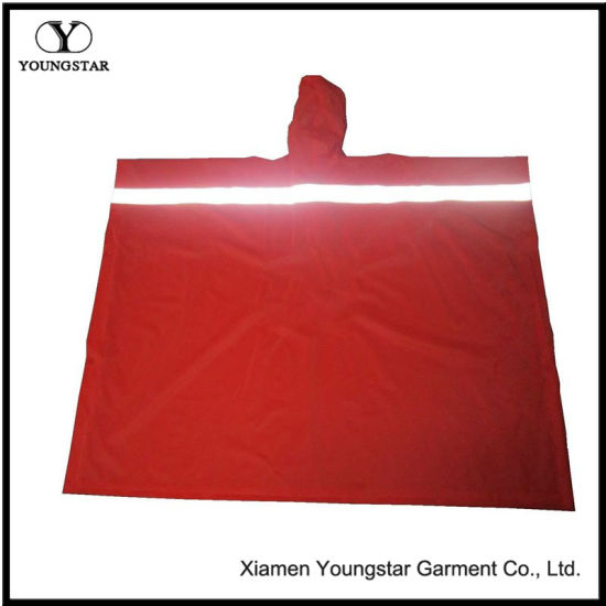 Red PVC Waterproof Reflective Reusable Rain Ponchos Raincoat