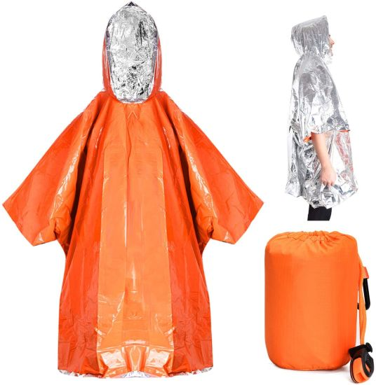 Outdoor Rain Jacket Orange Thermal Emergency Poncho Reusable Waterproof Blanket