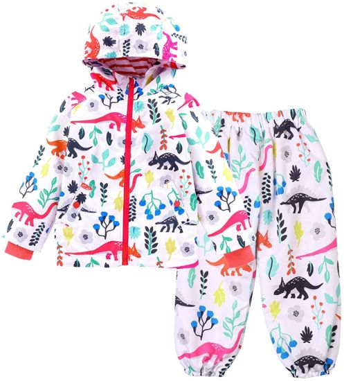 Waterproof Raincoat Hooded Jacket Dinosaur Coat Trousers Suit