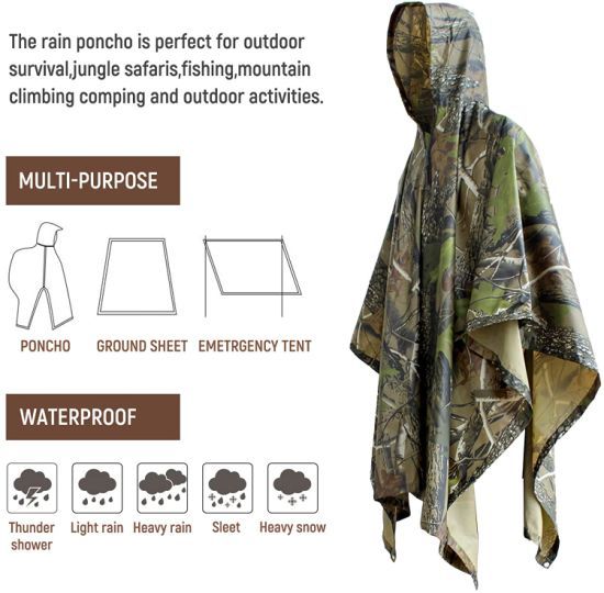 Rain Cape Hooded Poncho - Waterproof Raincoat Ground Sheet for Outdoor Activities