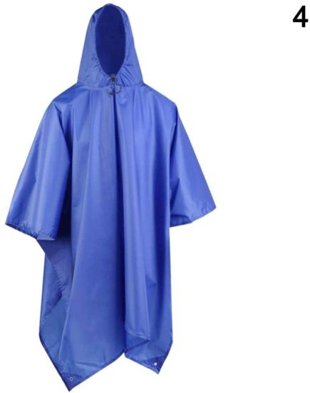 Waterproof Raincoat Poncho Multifunctional 3 in 1 Rain Coat Waterproof Poncho Awning Traveling Picnic Mat E2s
