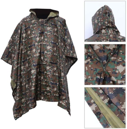 3 in 1 Waterproof Rain Poncho Multifunction Portable Adults Cloak Rain Coat for Camping Fishing Hiking (Digital Camouflage Cloak)