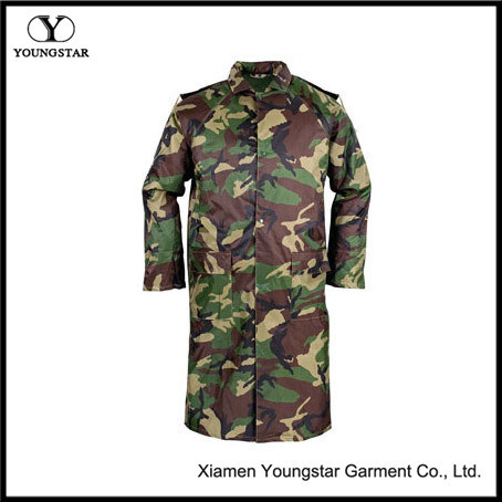 Waterproof Camouflage PVC Military Raincoat for Army