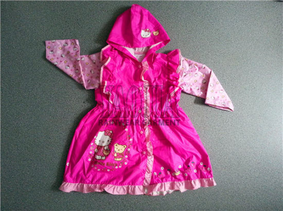Popular Pretty Rain Jacket for Student Girls