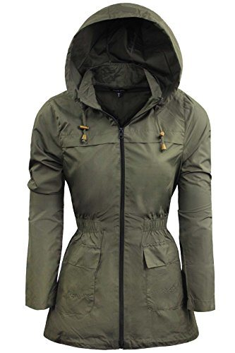 Lightweight Rain Mac Kagool Parka Polyester Ladies Raincoat Jacket Two Pockets Plus Size
