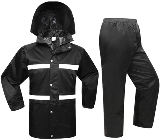 Waterproof Raincoat Set, Double Thick Rain Suit Coat and Trousers Set with Highlight Reflective Strips and Hidden Pockets S