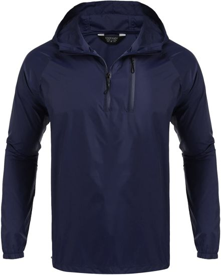 Hooded Windbreaker Pollover Lightweight Sports Jacket