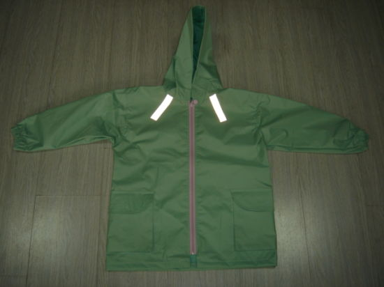 Children′s Kids Boys Green Safety Reflective Waterproof Rain Jacket