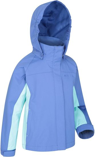 Kids Waterproof Jacket - Taped Seams Children Rain Coat Adjustable Cuffs Pockets - for Boys & Girls - Winter Camping Walking