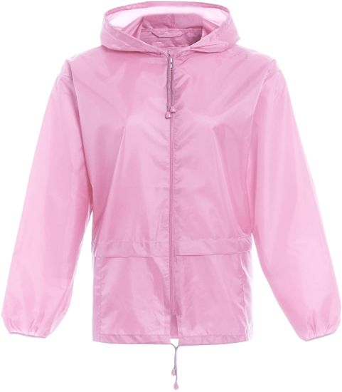 Unisex Plain Raincoat Boys Girls Childrens Waterproof Summer Hooded Toddlers Infants Pack Away Cagoule Lightweight Casual Jacket Shower Proof Windbreaker Outdo