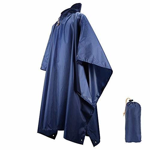 Raincoat Poncho, 3 in 1 Reusable Waterproof Raincoat/Sunshade Tarp/Tent Ground Sheet Mat with Carry Pouch for Bike Hiking Camping Outdoor Activ