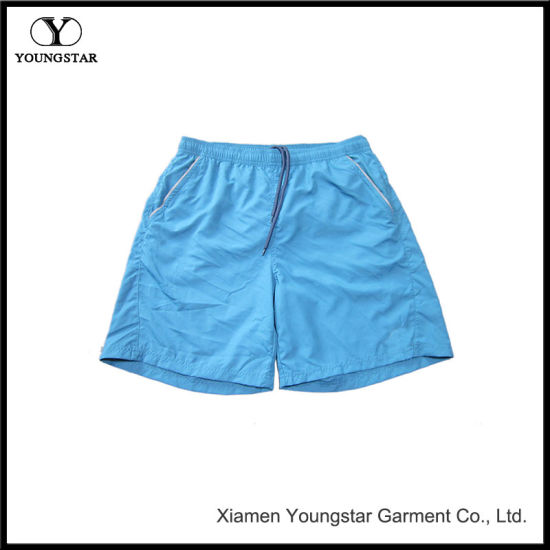 Blue Board Shorts Men′s Shorts Swim Trunks with Reflective Pockets