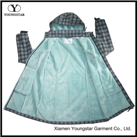 Ys-1073 Womens Girls Green Printed Waterproof Breathable Hooded Softshell Jackets