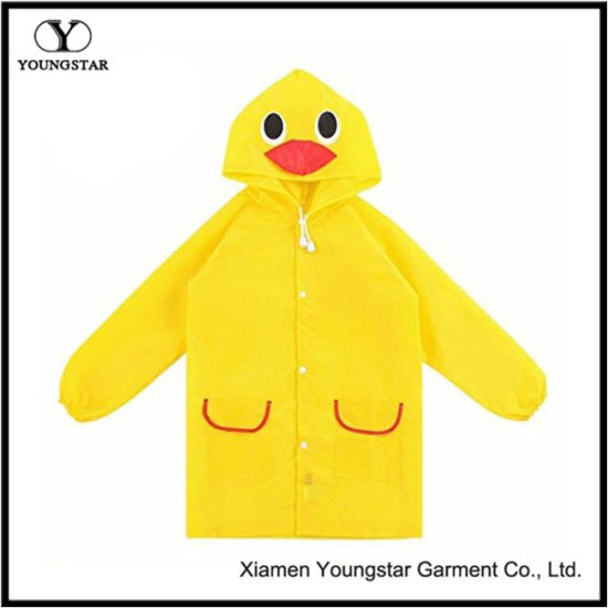 Toddler Baby Cheap Animal Yellow PVC Raincoat Jackets
