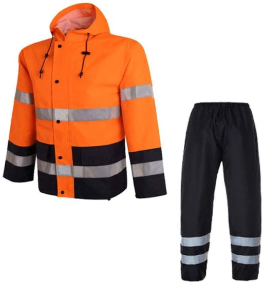Sports Raincoats Orange Safety Rain Jacket Reflective Polyester Waterproof Rain Suit Workwear New