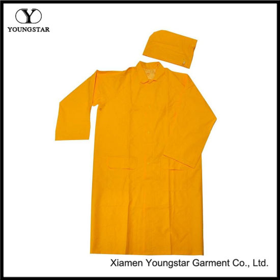 PVC/Polyester Unsex Yellow Long Raincoat