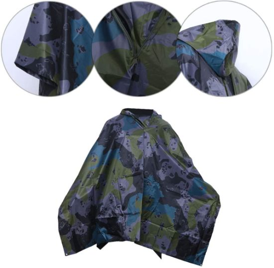 3 in 1 Waterproof Rain Poncho Multifunction Portable Adults Cloak Rain Coat for Camping Fishing Hiking (American Flower Camouflage Cloak)
