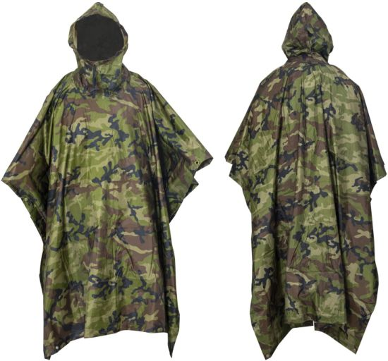 Waterproof Hooded Poncho Outdoor Camping Hiking Rain Cover
