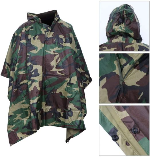 3 in 1 Waterproof Rain Poncho Multifunction Portable Adults Cloak Rain Coat for Camping Fishing Hiking (Big Flower Camouflage Cloak)